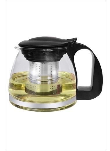 Kitchen Love 700Ml-Çelik Süzgeçli Cam Demlik Siyah